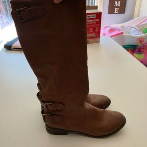 Tan boots.